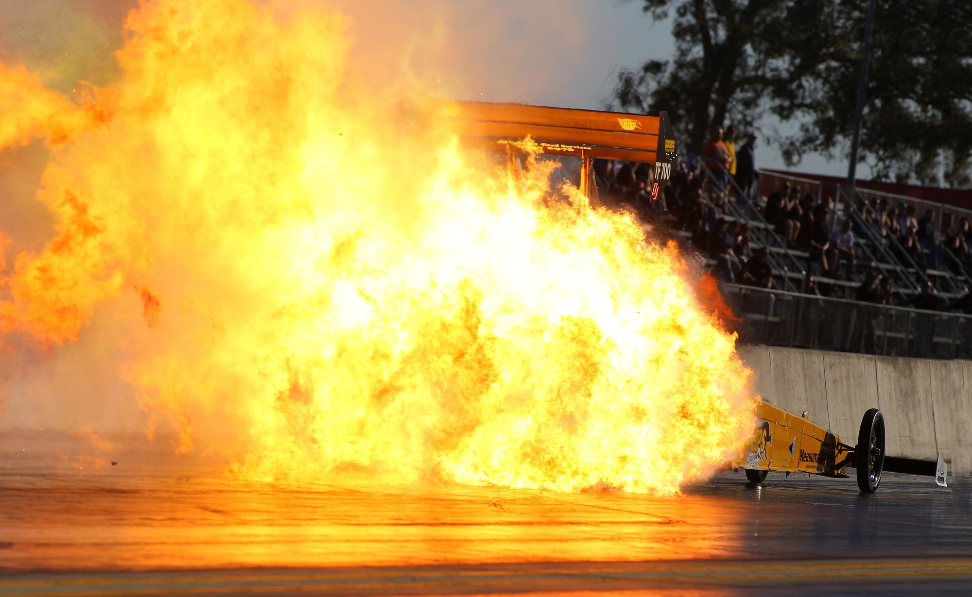 Huge Fireball in Top Fuel.